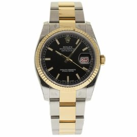 Rolex Datejust 116233 Stainless Steel & 18K Yellow Gold Black Dial Automatic 36mm Mens Watch 2017