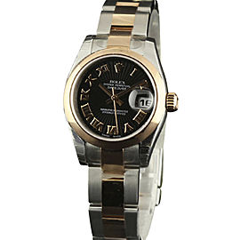 Rolex Datejust 179161 Stainless Steel & 18K Pink Gold Black Dial Automatic 26mm Womens Watch 2007