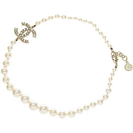 Chanel Gold Tone Hardware with Simulated Glass Pearl Pendant Necklace