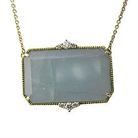 Judith Ripka 18K Yellow Gold Chalcedony & Diamond Pendant Necklace