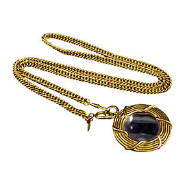 Chanel Gold-Tone Metal Coco Mark Glass Loupe Pendant Necklace