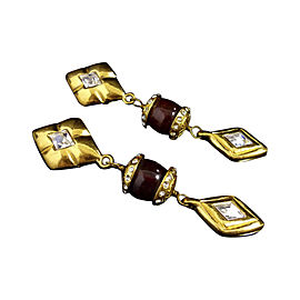 Chanel Gold-Tone Colored Stones Clip-On Earrings