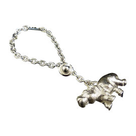 Hermes 925 Sterling Silver Hippos Key Chain Charm Ring