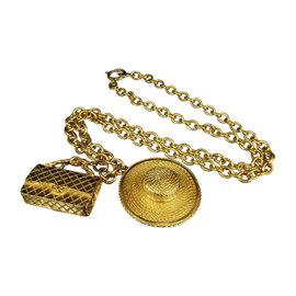 Chanel Coco Mark Matelasse Gold-Tone Metal Pendant Necklace