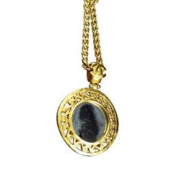 Chanel Coco Mark Gold-Tone Metal Coco Mark Glass Mirror Pendant Necklace