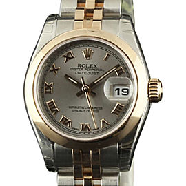 Rolex Datejust 179161 Stainless Steel & 18K Pink Gold Silver Dial Automatic 26mm Womens Watch
