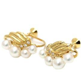 Mikimoto 18k Yellow Gold Pearl Diamond Earrings