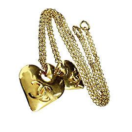Chanel Coco Mark Gold Tone Metal Double Chain Pendant Necklace