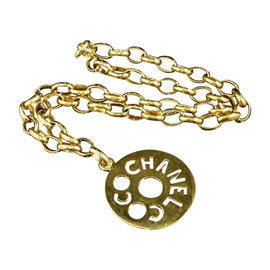 Chanel Coco Mark Gold-Tone Metal Pendant Necklace