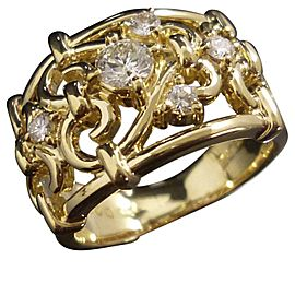 Celine 18K Yellow Gold & Diamond Ring Size 4.5