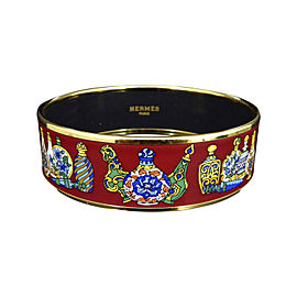 Hermes Gold Tone Metal Cloisonne Enamel Red Bangle Bracelet