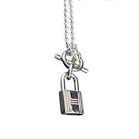 Hermes Cadena 925 Sterling Silver Charm Pendant Necklace