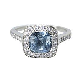 Tiffany & Co. 950 Platinum & 1.57 tcw Diamond & Aquamarine Ring Size 4.75
