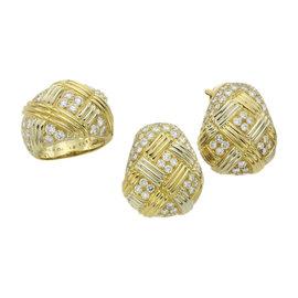 Van Cleef & Arples 18K Yellow Gold Diamond Ring & Earrings