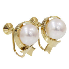Mikimoto 750 Yellow Gold and Pearl Ribbon Motif Earrings