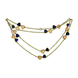Van Cleef & Arpels 18K Yellow Gold Pink Coral Lapis Lazuli Hearts Necklace