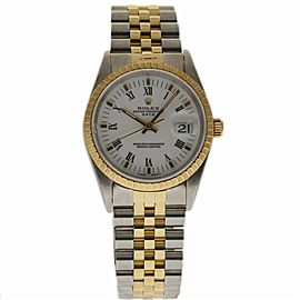 Rolex Date 15223 Stainless Steel & 18K Yellow Gold White Dial Automatic 34mm Unisex Watch 1995