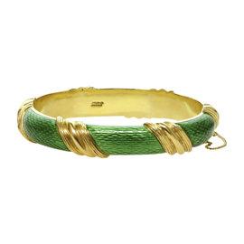 Tiffany & Co. 18K Yellow Gold Green Enamel Striped Bangle Bracelet