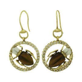 Gucci 18K Yellow Gold with 1.80ctw. Diamond Sapphire Agate and Tiger Eye Scarab Beetle Earrings