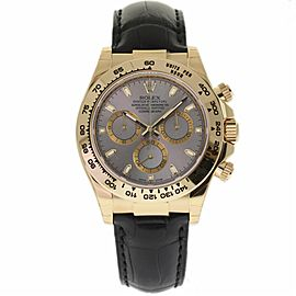 Rolex Daytona 116518 18K Yellow Gold & Leather Silver Dial Automatic 40mm Mens Watch