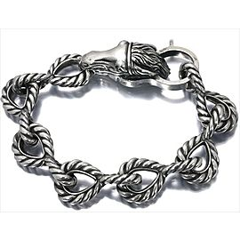 Gucci 925 Sterling Silver Bangle Horse Motif Bracelet