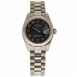 Rolex Datejust 179179 18K White Gold Black Dial Automatic 26mm Womens Watch 2002