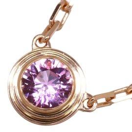 Cartier Diamants Legers 18K Rose Gold Pink Sapphire Necklace