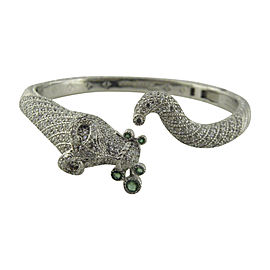 Judith Ripka Sterling Silver Green and White Cubic Zirconia Dog Cuff Bracelet