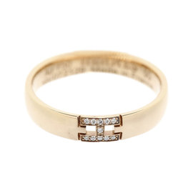 Hermes 18K Rose Gold Diamond Herakles H Motif Ring Size 5.5