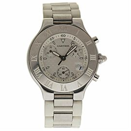 Cartier Must 21 W10184U2 2424 Stainless Steel & Rubber Quartz 38mm Unisex Watch