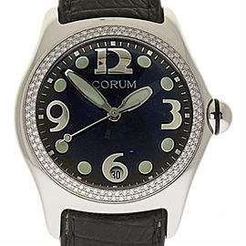 Corum Bubble 163.150.20 Stainless Steel Leather Diamond Quartz 45mm Womens Watch