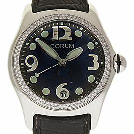 Corum Bubble 163.150.20 Stainless Steel Leather Diamond Quartz 45mm Womens Watch