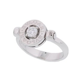 Bulgari Bvlgari 18k White Gold Diamond Ring Size 4.5