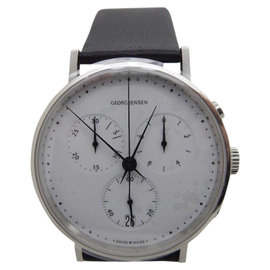 Georg Jensen Koppel 317 Stainless Steel & Leather White Dial Quartz 38mm Mens Watch
