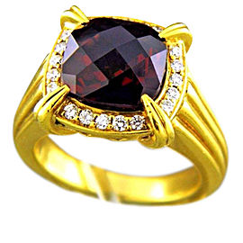 Charles Krypell 18K Yellow Gold with Garnet and Diamond Ring Size 8