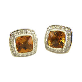 David Yurman 925 Sterling Silver with Citrine and Diamonds Earrings