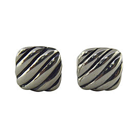David Yurman 925 Sterling Silver Cable Cushion Cufflinks