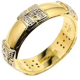 Hermes 18K Yellow Gold & Diamond Logo Band Ring Size 6