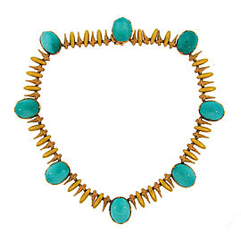 Buccellati 18K Rose & Yellow Gold Turquoise Necklace