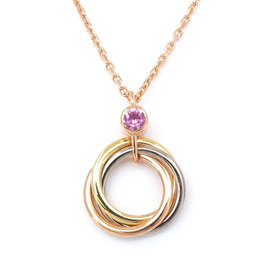 Cartier 750 Pink, White and Yellow Gold and Pink Sapphire Trinity Necklace