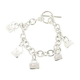 Hermes Amulettes 925 Sterling Silver 5 Bag Motifs Bracelet