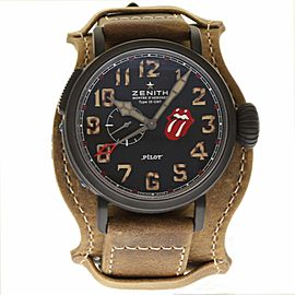 Zenith Titan Pilot 96.2435.693/97.C738 DLC Coated Titanium & Leather Automatic 48mm Mens Watch