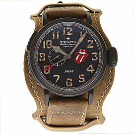 Zenith Titan Pilot 96.2435.693/97.C738 DLC Coated Titanium & Leather Automatic 48mm Mens Watch