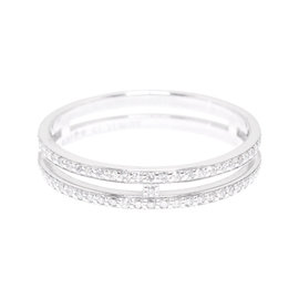 Hermes Ariane 18K White Gold with Diamond Ring Size 5.75