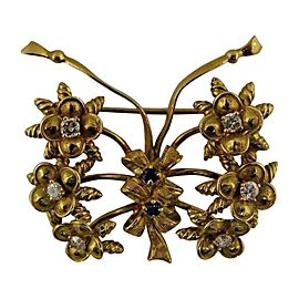 Vintage Tiffany & Co. 18K Yellow Gold, Sapphire & Diamond Italy Flower Brooch