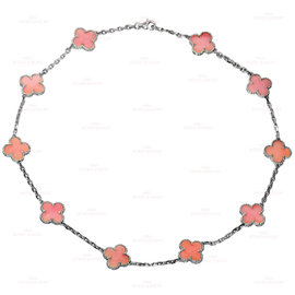 Van Cleef & Arpels Alhambra 18K White Gold with Pink Opal Necklace