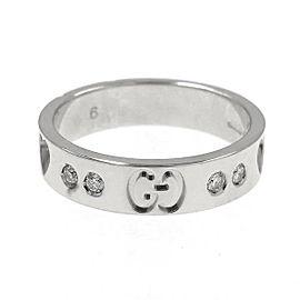 Gucci Icon 750 White Gold 10P Diamond Amor Heart Ring Size 3.5