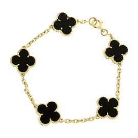 Van Cleef & Arpels Vintage Alhambra 18K Yellow Gold Onyx Bracelet