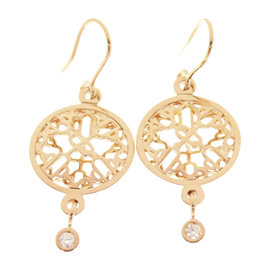 Hermes Chaine d'Ancre Passerelle 18K Pink Gold with Diamond Pierced Earrings