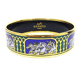 Hermes Cloisonne Gold Tone Hardware Enamel Cheval Bangle Bracelet